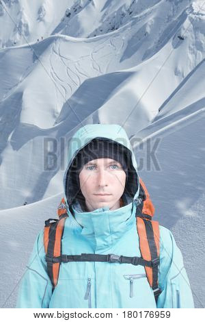 Alpinist on background of mountain landscape
