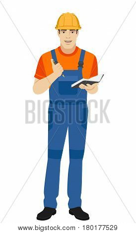 Builder with pen and pocketbook. Full length portrait of builder in a flat style. Vector illustration.