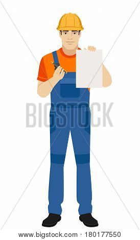 Builder giving pen for your signature on paper. Full length portrait of builder in a flat style. Vector illustration.