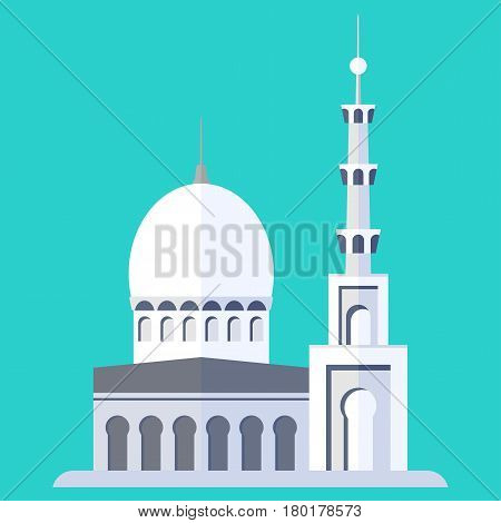 mosque on blue background. Flat vector cartoon illustration. Objects isolated on a white background.