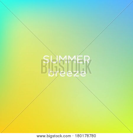 Square background with summer breeze colors with quoatation.