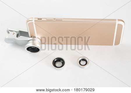 Fish Eye Lens Set For Smartphone White Background