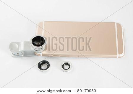 Fish Eye Lens Set For Mobile Phone White Background