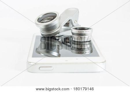 Set Fisheye Lens For Mobile Phone White Background