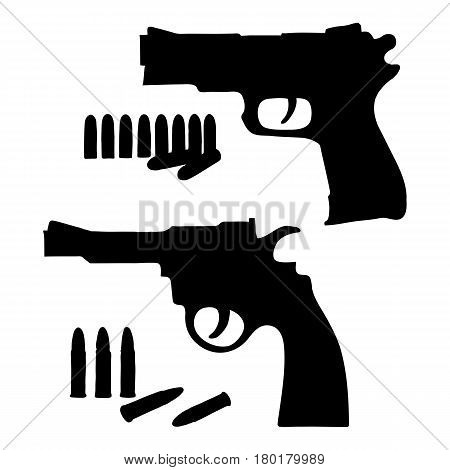 Silhouette sketch vector revolver and a pistol with bullets. Illustration on white background.