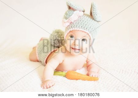 A cute baby girl in a bunny hat. Easter rabbit.