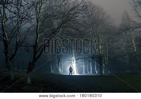 Strange Silhouette In A Dark Spooky Forest At Night, Mystical Landscape Surreal Lights With Creepy M