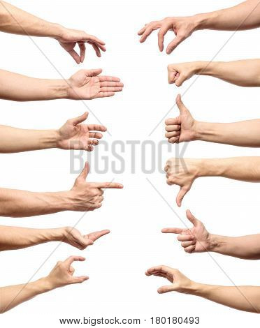 Multiple Male Caucasian Hand Gestures Isolated Over The White Background