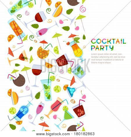 Vector seamless vertical background with cocktails juice wine glasses. Hand drawn illustration. Beverages on white background. Design for party invitation bar menu alcohol drinks wine list.