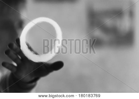 Vape. Man Hand And A Ring Of Steam. Vaping. Electronic Cigarette.