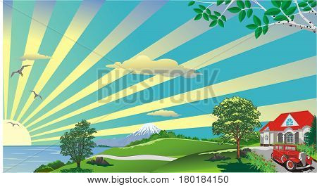 Landscape - rustic cottage on the hill. The mountains on the horizon. The sunrise over the ocean. Hill. The road to the ocean. Vector illustration