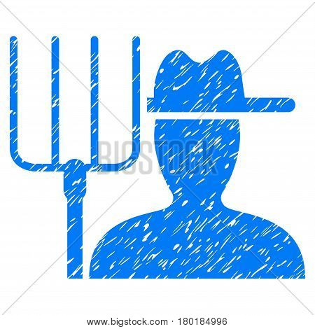 Grunge Farmer With Pitchfork rubber seal stamp watermark. Icon symbol with grunge design and unclean texture. Unclean vector blue sign.