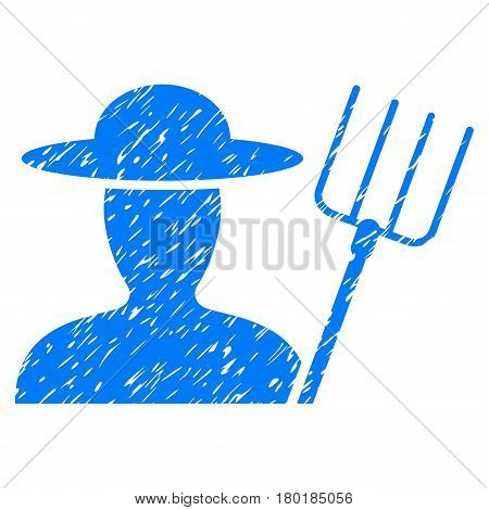 Grunge Farmer With Pitchfork rubber seal stamp watermark. Icon symbol with grunge design and dirty texture. Unclean vector blue sign.