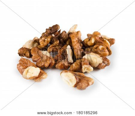 Pile of peeled skinless walnuts isolated on white background