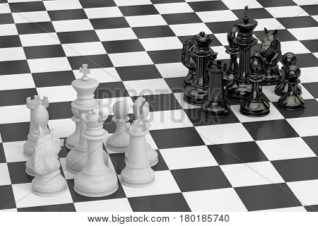 Chess confrontation and conquest concept. 3D rendering