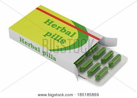 Herbal pills 3D rendering isolated on white background