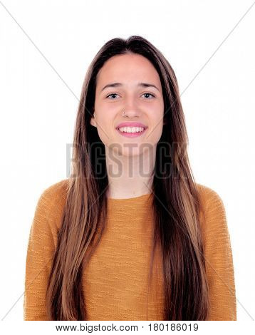 Happy teenger girl with sixteen years old looking at camera isolated on a white background