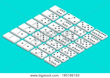 Full set of white isometric dominoes. Complete double-six set.