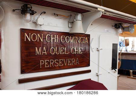 Amerigo Vespucci Ship Motto