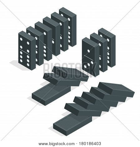 Domino effect. Full set of black isometric dominoes isolated on white. Flat vector illustration.