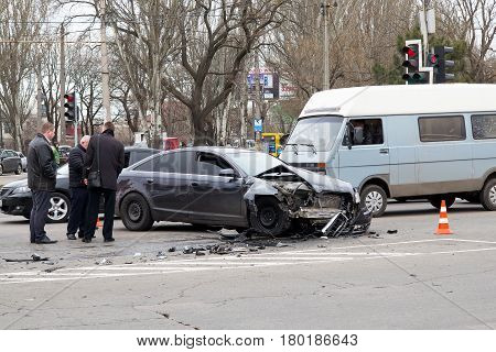 Odessa, Ukraine, 23 March 2017: Car Crash Accident On The Street, Damaged Automobiles After Collisio