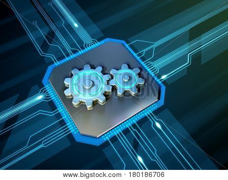 Some gears over a printed circuits board. 3D illustration.