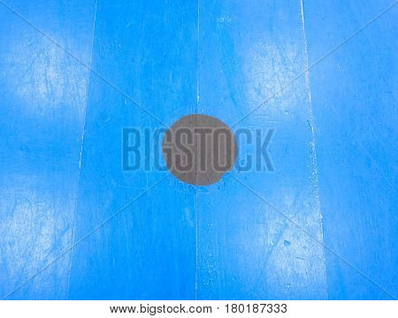 Black Point In Blue Playfield. Painted Wooden Floor Of Sports Hall