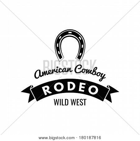 Horseshoe. Wild West Label. Rodeo Competition Badge. Western Illustration Vector