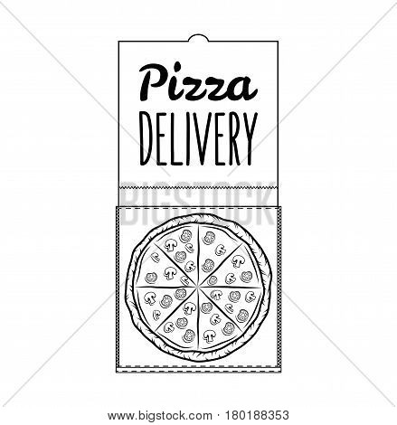 Pizza Box Pizza Delivery. 24 Hours. Label Pizzeria. Design Elements Vector Illustration