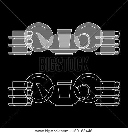 Tea set, kettle, cup, saucer on black background. Vector illustration