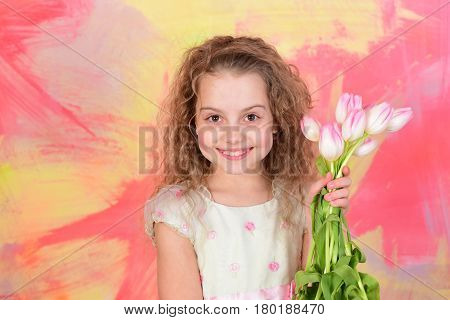 Happy Girl With Spring Tulip Flowers, Womens, Mothers Day Holiday