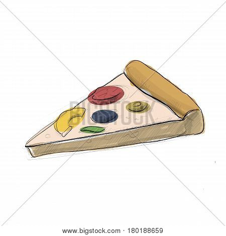 Hand drawn sketch of pizza. Simple vector illustration.