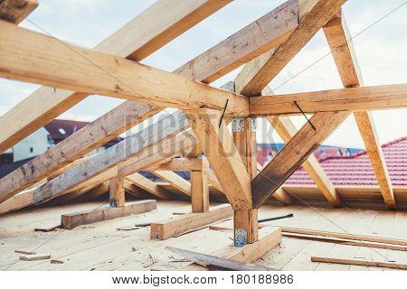 Industrial Details Of House Renovation, Restoration Of Roof System