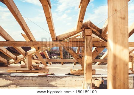 Domestic Roof Construction Details With Truss System And Exterior Beams.