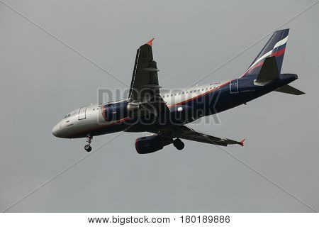 St. Petersburg Russia 19 August 2012 Passenger airplane Airbus A319 Malevich Of Aeroflot Airlines in flight
