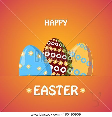 Three Easter eggs with patterns in the paper pocket on the gradient yellow background.