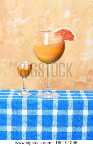 Freshness Tropical Cocktail With Alcoholic Shot