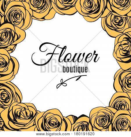 Flower boutique logo template in ivory roses frame. Trendy emblem for your flower shop. Vector illustration