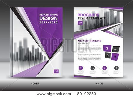 Purple Color Scheme with City Background Business Book Cover Design Template in A4 Business Brochure flyer Annual Report Magazine polygon vector
