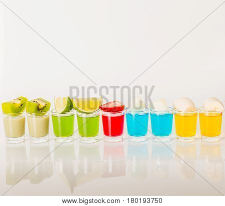 Color Drinks In Shot Glass, Blue, Green, Red, Yellow And Creamy Combination, Many Drinks In A Shot G