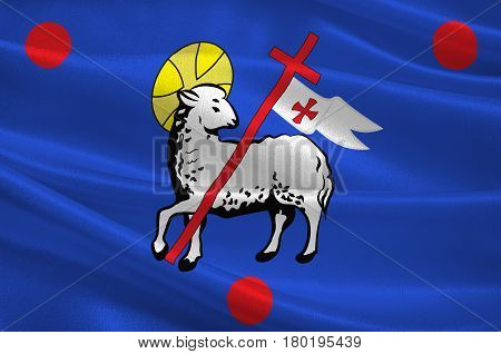 Flag of Grasse is a commune in the Alpes-Maritimes department on the French Riviera. 3d illustration