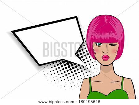 Beautiful sexy girl with short pink hair winks, kiss mouth style pop art speak. Comics book retro halftone background. Vector colored dot illustration. Empty blank comic text speech bubble.