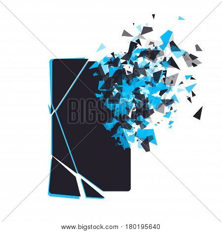 Cracked phone screen shatters into pieces. Broken smartphone split by the explosion. Modern gadget needs to be repaired. Display of the phone shattered.