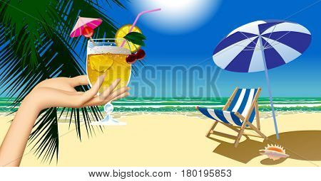 Woman's hand holding a fruit cocktail and beach chair and umbrella against the sea