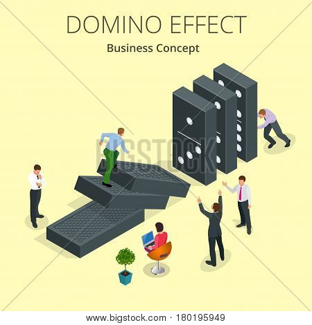 Isometric Man Start domino effect a and Chain reaction concept. Business metaphor. Business solution and helping business themes