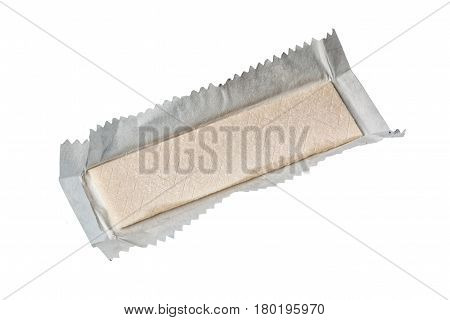 Chewing gum in wrapper isolated on white background.
