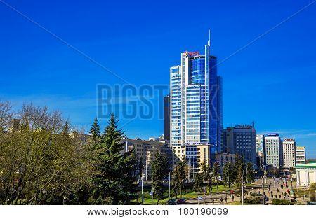 Business center in the center of Minsk Nemiga district on Pobediteley Avenue Belarus 23 March 2017 modern architecture; Editorial