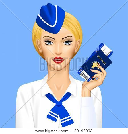 Stewardess with passport and air ticket in hand on blue background