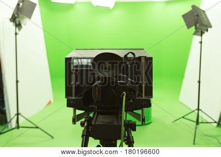 Green Screen Chroma Key Background Modern Tv Studio Setup