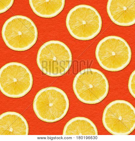 Studio Close-up Photography yellow lemon slices on Red Background
